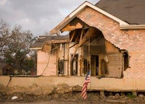 Damaged home as a result of Hurricane Katrina